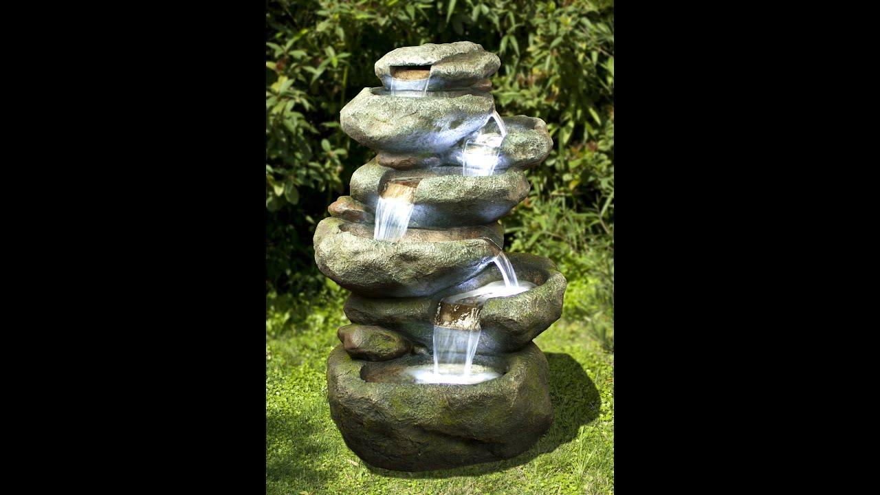 NEW INDOOR OUTDOOR POLYRESIN WATER FOUNTAIN FEATURE   22049 CASCADE WITH  LIGHTS