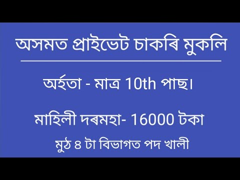 Download Private job in Assam|| Assam job news today||job in Assam 2021