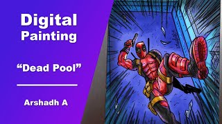 COMIC poster | episode 1| digital painting | deadpool | arshadh jailany | timelapse video