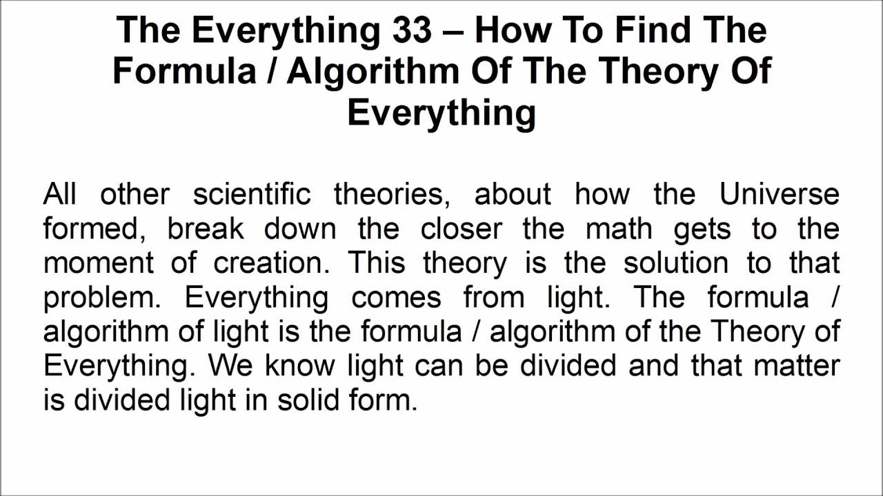 The Everything 33 How To Find Formula Algorithm Of Theory