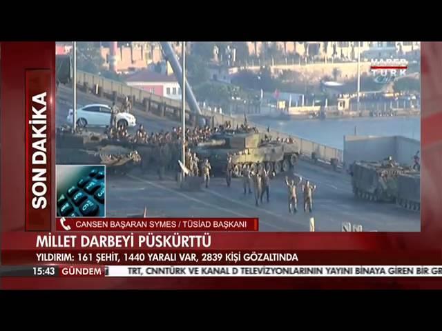 TÜSİAD YK Başkanı Cansen Başaran-Symes darbe girişimini HaberTürk kanalında değerlendirdi