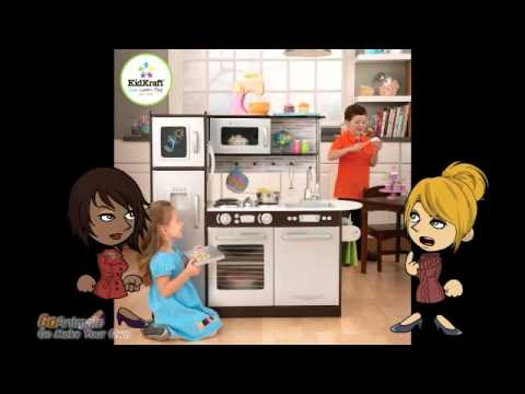 kidkraft uptown espresso play kitchen 53260 review - youtube