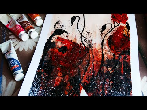 Abstract painting/DEMO #04/how to paint/beautiful flowers /with acrylics