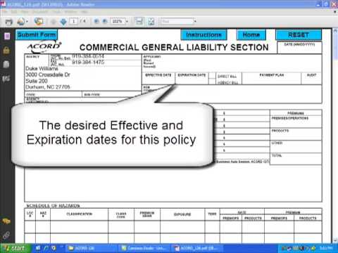 Acord 126 How To Complete The Agency Applicant And Coverages