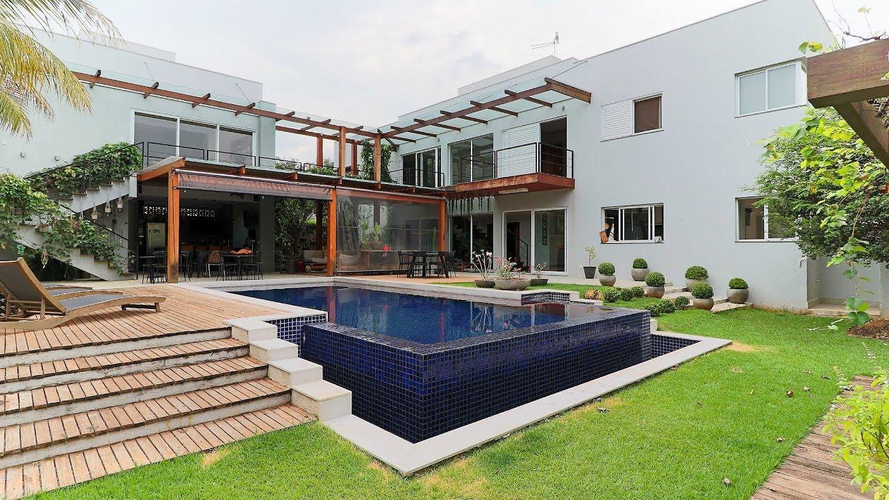 Luxuosa casa no jardins paris em goi nia 5 suites youtube for Casa minimalista 90m2