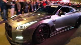 2016 Gumball 3000 in street of London Nissan GTR hard rev and burns