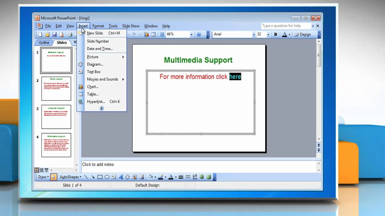 Microsoft� Powerpoint 2003: How To Create A Hyperlink Slide On Windows� 7?