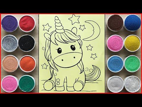 TÔ MÀU TRANH CÁT UNICORN NGỰA KÌ LÂN 1 SỪNG BABY - Sand painting unicorn so cute (Chim Xinh)
