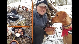 FRICTION FIRE BREAKFAST - IN THE SNOW WITH MY DOG!