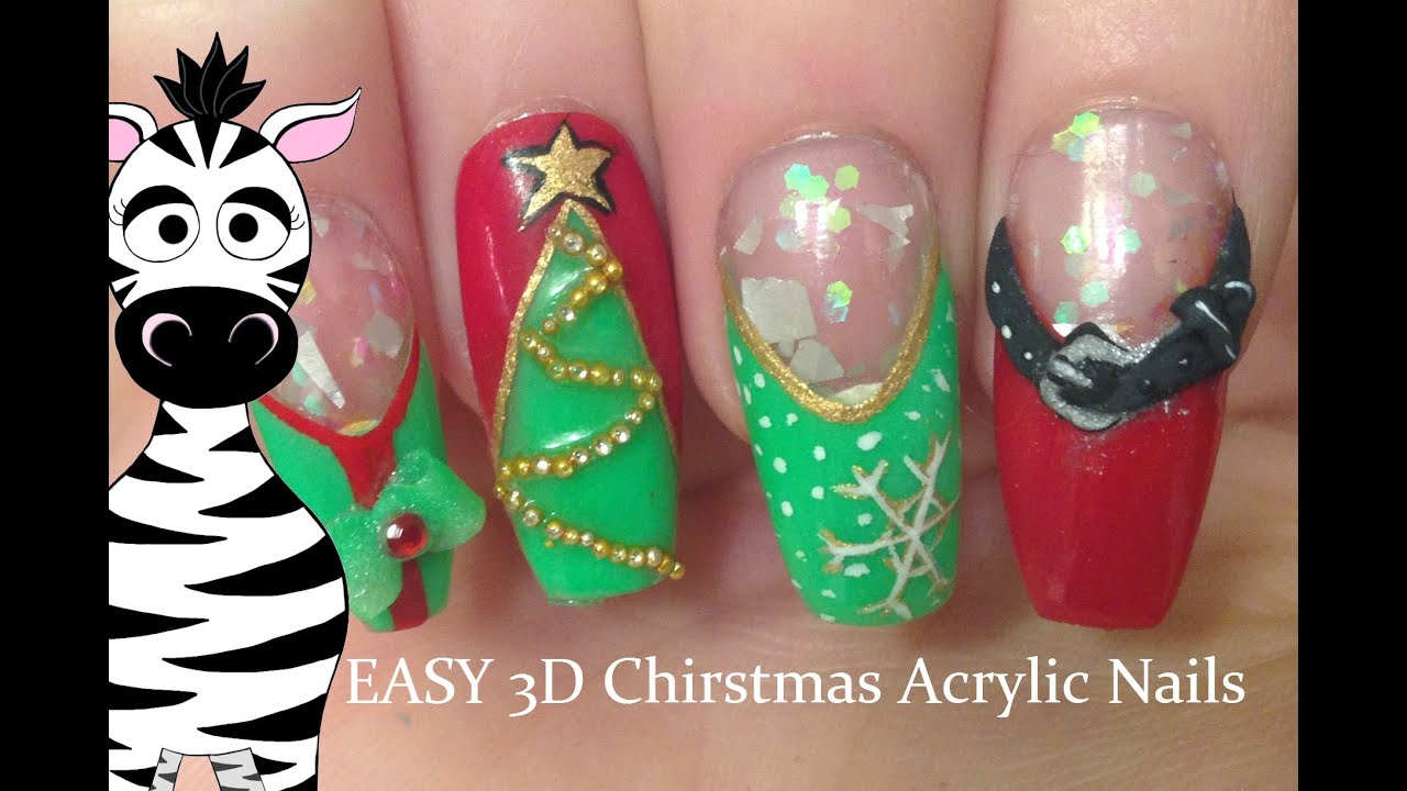 3d Christmas Acrylic Nail Art Tutorial Youtube