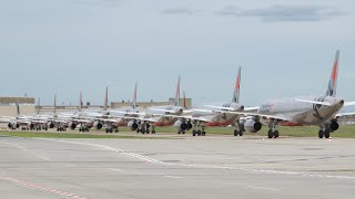 Stored Aircraft at Melbourne Airport during Coronavirus Pandemic