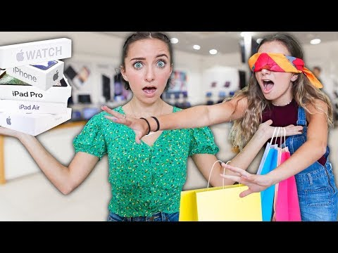 Buying EVERYTHING my TWIN Touches Blindfolded! *back to school*