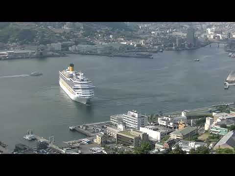 COSTA FORTUNA turned 180 degrees and departed from Nagasaki Port in Japan.