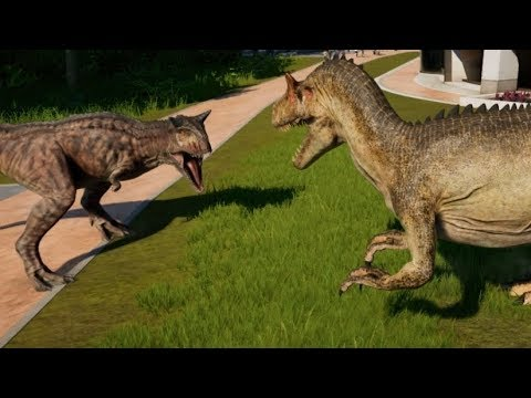 Jurassic World Evolution - Allosaurus & Carnotaurus Breakout & Fight! (1080p 60FPS)