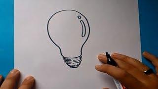 Como dibujar una bombilla paso a paso 2 | How to draw a bulb 2