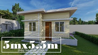 5mx5.5m Simple Small House Design with 1 Bedroom