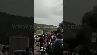 Three died in an accident at Siolim-Chopdem bridge, car set on fire: 2