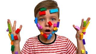 Дети и папа - веселая история | pretend play LEGO HANDS