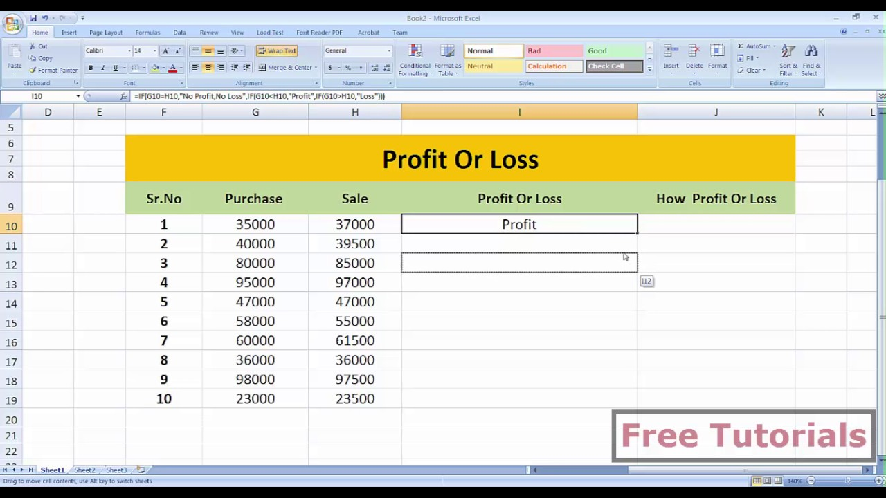 simple profit and loss excel template