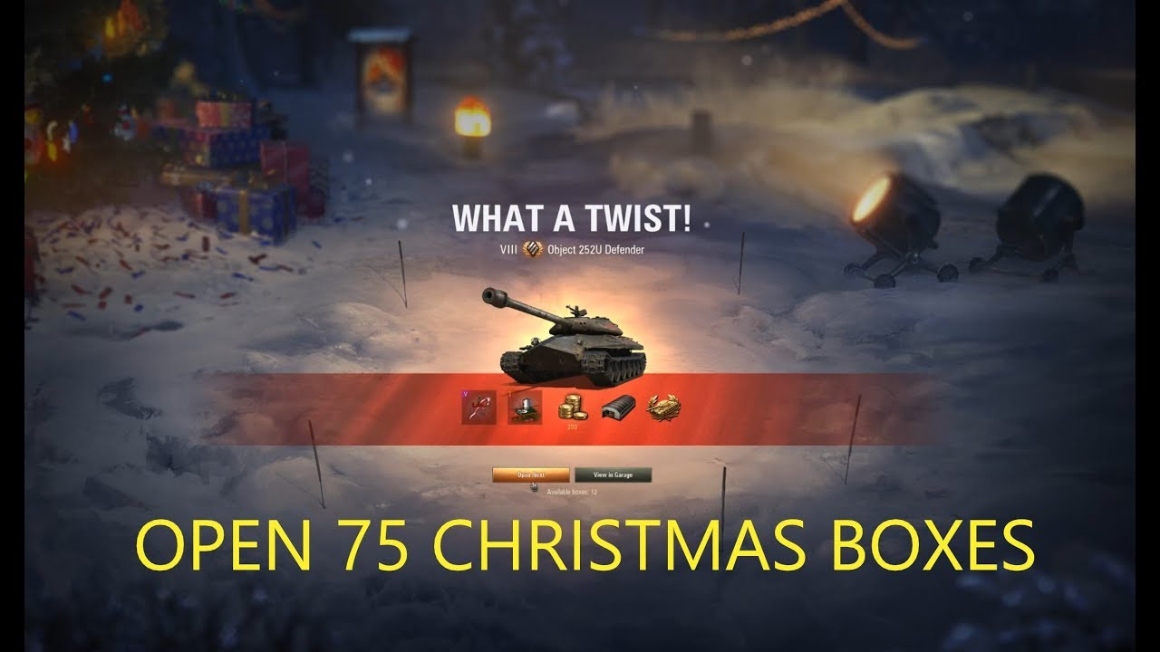 Wot 2020 Christmas Skins 2019 Most Lucky Opened 75 Christmas boxes   World of Tanks   YouTube