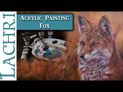 Painting a Fox in Acrylics w/ Airbrushed background - Art ti