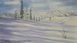 How to Paint Snow Mountains in Watercolor - Winter Landscape