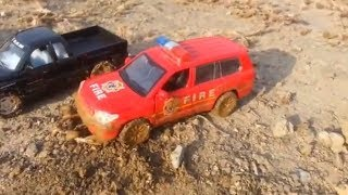 Toy Cars & Police Cars in the mud Compilation for kids