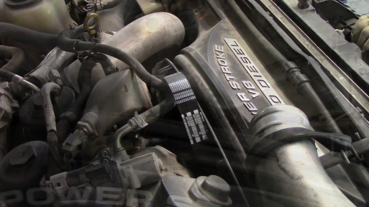 2009 f 450 6 4 l belt and tensioner r r youtube 1990 ford f 250 serpentine belt diagram 6 4 powerstroke belt diagram [ 1280 x 720 Pixel ]