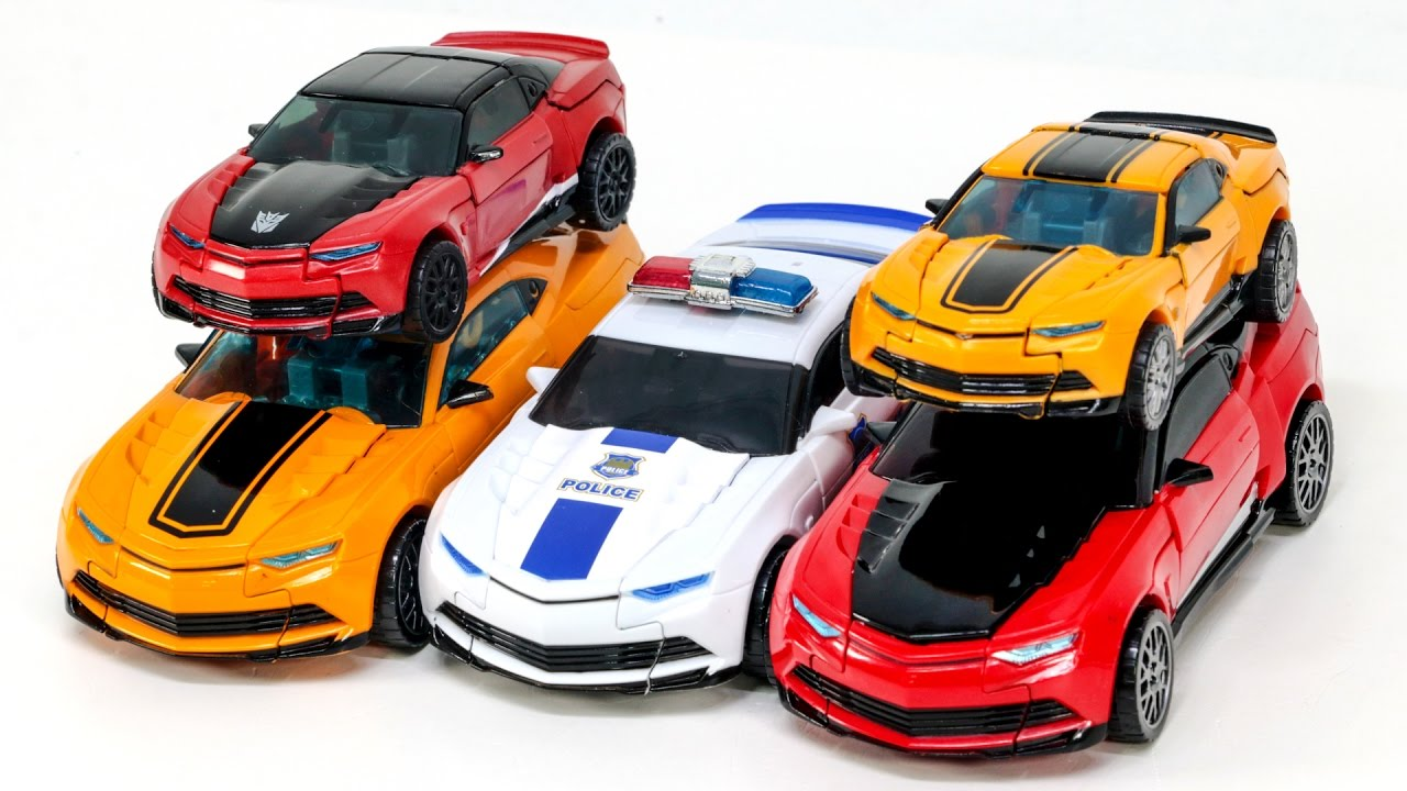 Transformers AOE Yellow Bumblebee Police Bumblebee Red Stinger Camaro 5  Vehicles Robot Car Toys