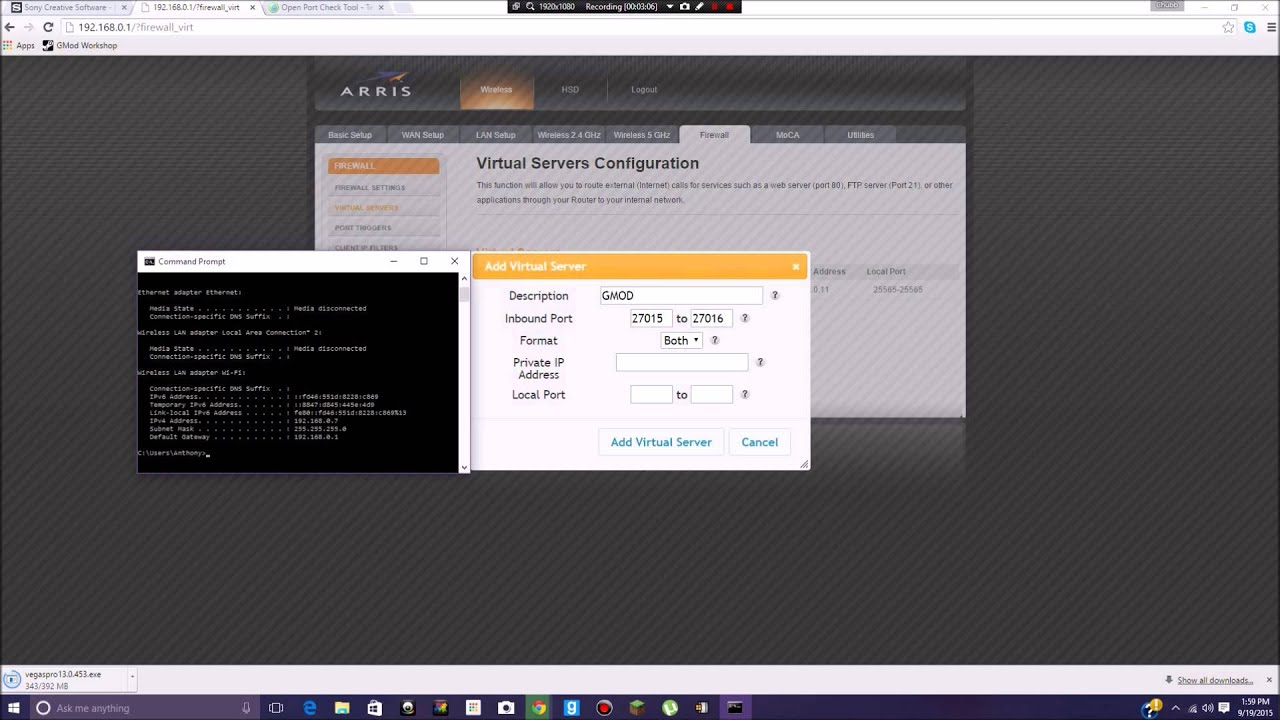 How to: Port Forward A GMOD Server on an Arris Router! ( READ DESCRIPTION)  by Wolfram Gaming