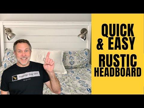 DIY Headboard - Wall Mounted, Quick & Easy, Handmade, Rustic Wood
