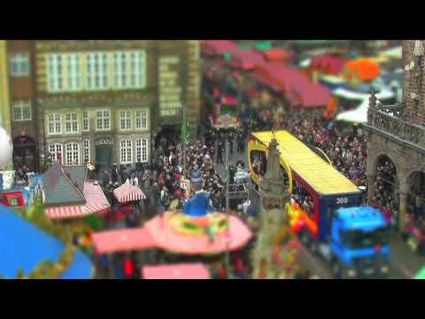 Fall in Bremen-land, Tilt Shift Movie in HD, Miniature City of Bremen