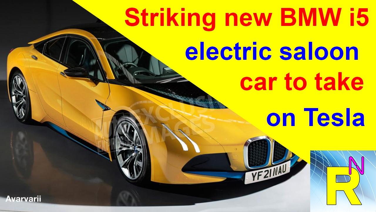 car review - striking new bmw i5 electric saloon car to take on tesla - read newspaper tv