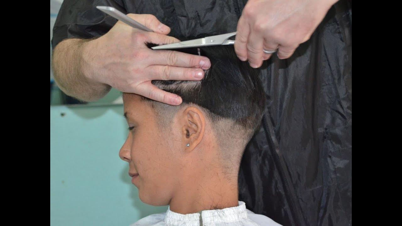 Shears boyish cut girl - YouTube
