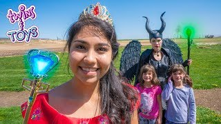 Maleficent and Princess Elena teach Kate & Lilly with FUN KID TOYS!!