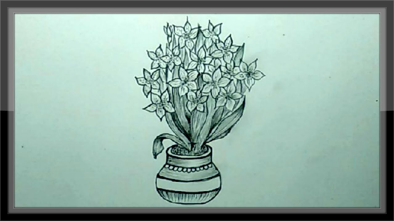 Cool Pencil Drawing A Beautiful Flower Vase Easy Youtube