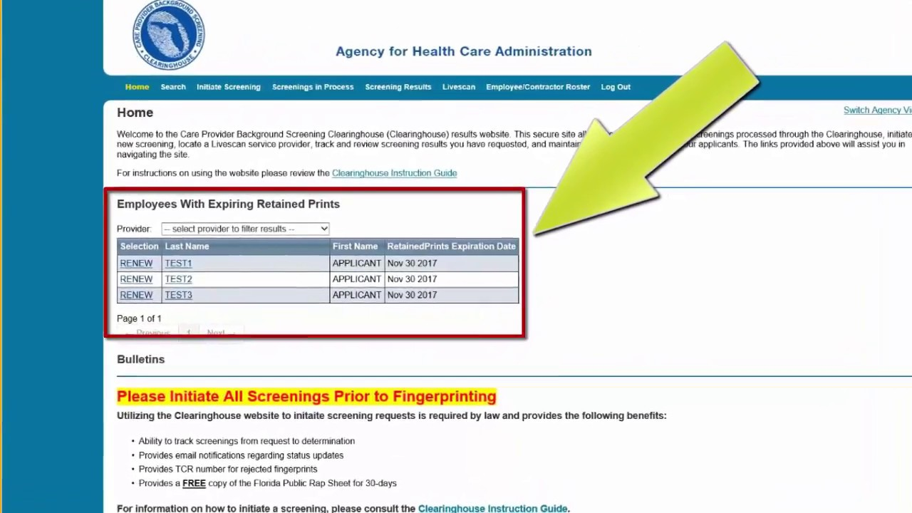 AHCA:Central Services: Background Screening: Clearinghouse Renewals