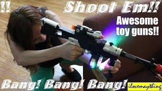 Toy Guns for Kids: Bang! Bang! Toy Gun Playtime with Hulyan & His Mom