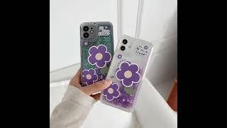 보라색 꽃 퀵샌드 휴대폰 케이스
