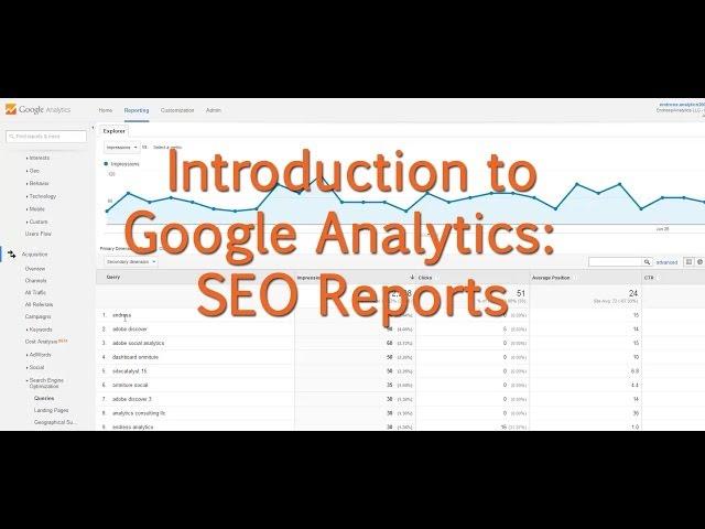 [Tutorial] Google Analytics - SEO Reports - YouTube