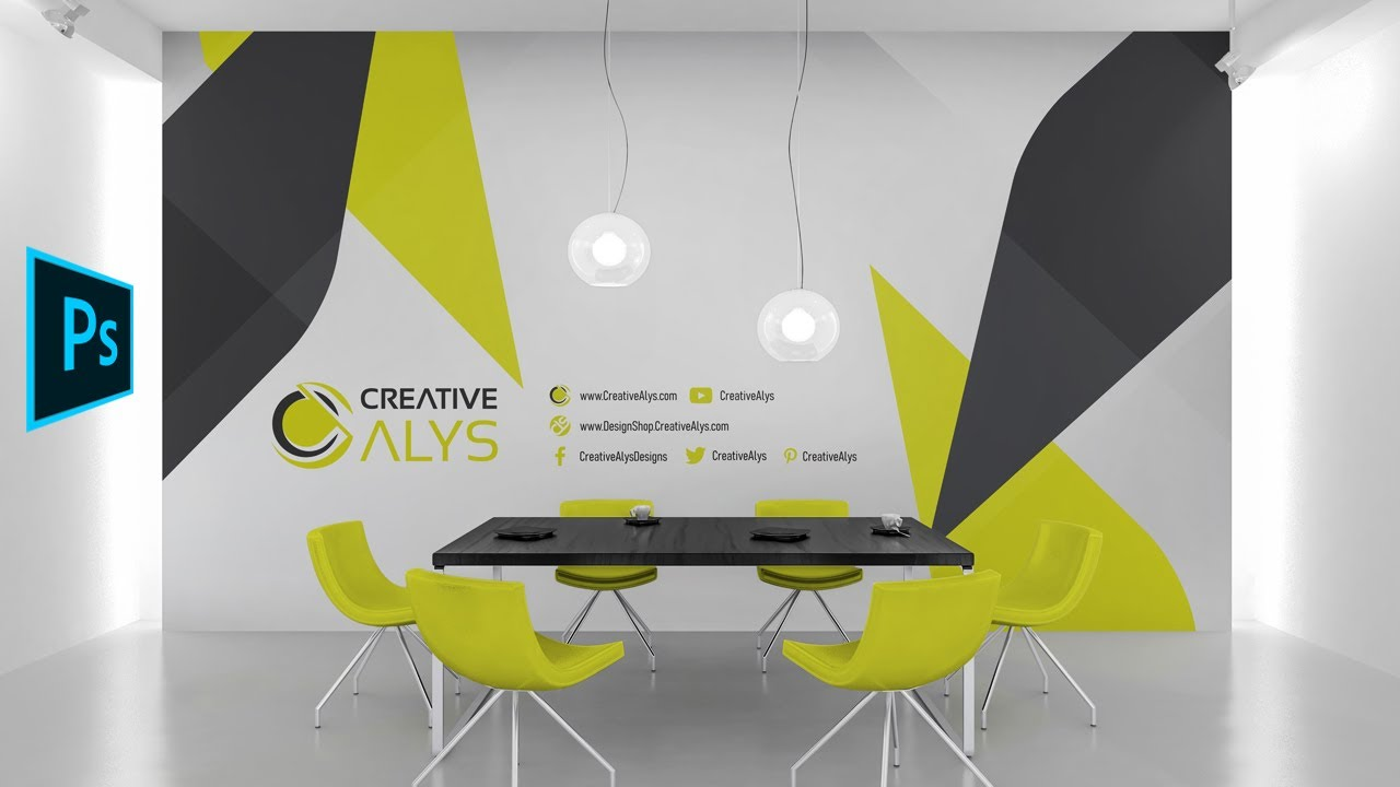 Create Wall Design Display Using Psd Mockup Graphic Design Photoshop Tutorial Youtube
