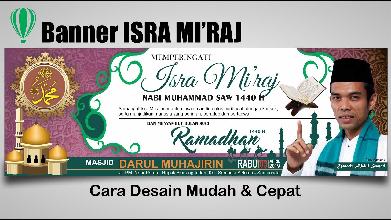 Desain Spanduk Isra Mi Raj 1440 H Dengan Coreldraw Isra