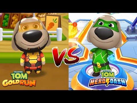 Talking Tom Gold Run VS Talking Tom Hero Dash -  Ben Hero VS Ben Super Hero - Gameplay iOS, Android