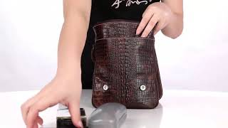 CARANFIER Men Leather Crocodile Crossbody Pouch Handbags