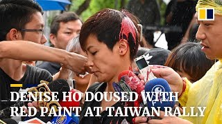 Denise Ho doused with red paint at Taiwan rally