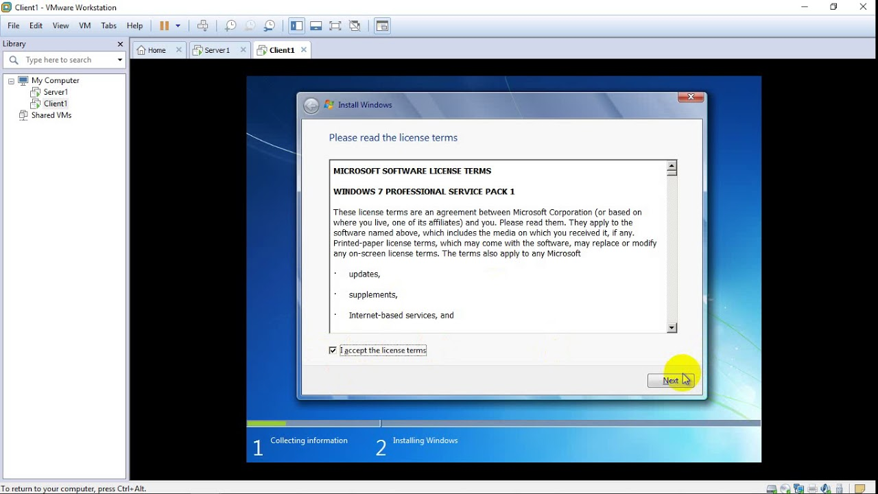 how to install windows server 2012 on vmware workstation 7