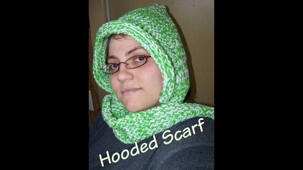 How To Loom Knit A Hooded Scarf - YouTube