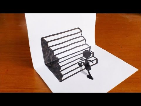 How to drawing 3d stairs step by step for kids trick art on paper youtube