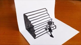 Very Easy!! How To Drawing 3D Stairs Step by Step for Kids - Trick Art on Paper