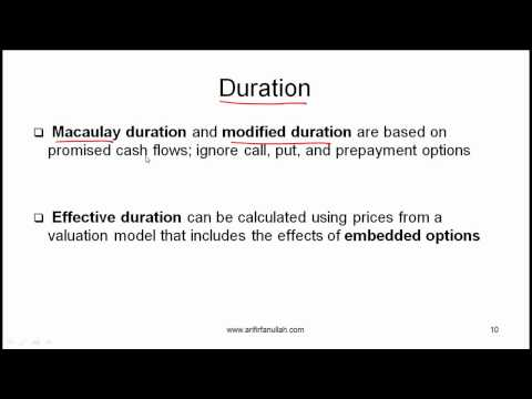 CFA Level I Measurement of Interest Rate Risk Video Lecture by Mr. Arif Irfanullah part 2
